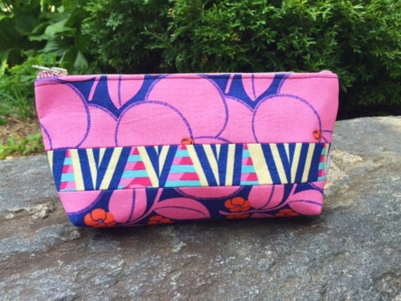 Navy Blue Bloom Makeup Bag, Cosmetic Case, Toiletry Bag, Cosmetic Bag, Makeup Case