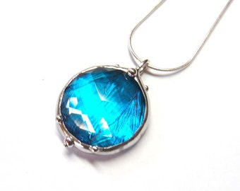 Necklace with Antique Faceted Glass Jewel and Real Blue Morpho Butterfly