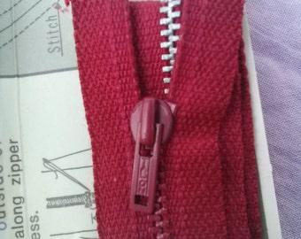 Vintage 1970s Metal Zipper Cranberry Red 22 Inch Talon 2015375