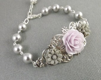 Light Purple and Gray Silver Filigree Flower Bracelet