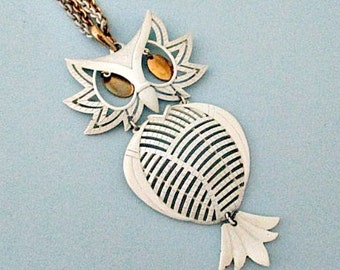 Owl Vintage Pendant Necklace - Large Articulated Owl Pendant