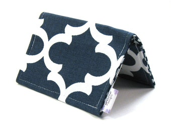 Mini Wallet / Card Holder / Business Card Holder / Card Case / Gift Card Holder/ Small Wallet - Navy Fulton Fabric