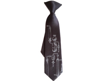 Boys Chemistry tie. Lab Glass necktie. Clip-on test tubes necktie. Baby, toddler, or youth size. Children's science tie. Charcoal & more.