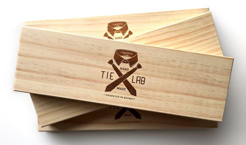 Laser etched wood necktie box. Super fancy tie gift box.
