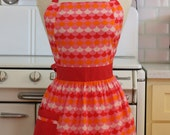 Retro Apron Red and Pink Scallops CHLOE
