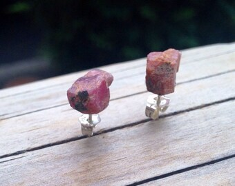 Banish the Darkness - Raw Ruby Sterling Silver Stud earrings