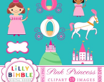 80% off Princess clipart for birthday invites, castle, carriage, clip art INSTANT DOWNLOAD