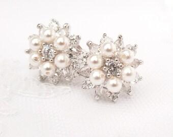 Delicate Pearl & Cubic Zirconia Bridal Stud Earrings, Vintage Inspired Wedding Bridal Jewelry, CZ Flower Stud Wedding Earrings, Mabelle