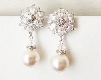 Statement Cubic Zirconia Flower Bridal Stud Earrings, Dangly Pearl Drop Bridal Earrings, CZ Flower Stud Wedding Earrings, Imogen