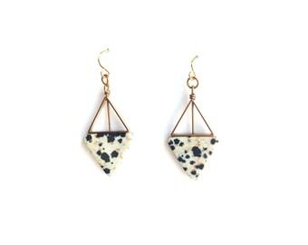 Dalmatian Jasper Double Triangle Earrings