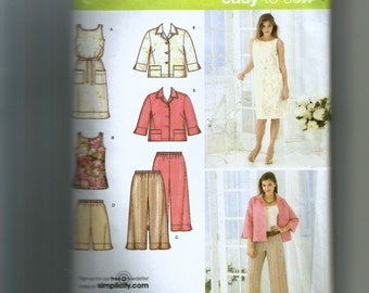 Simplicity Misses' / Women's Cropped Pants or Shorts, Dress or Tunic, Tie Belt and Jacket Pattern 3757