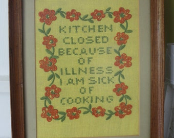 Framed Needlework KITCHEN CLOSED / Colorful Artwork