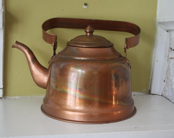 Downton Abbey Copper Kettle / Teapot / Rustic Primitive