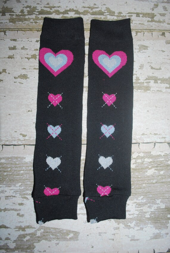 pink hearts, baby leg warmers, black leggings, toddler legwarmers, infant girl, valentines day, baby outfit, girl clothes, babylegs, girl