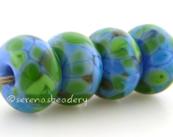 Handmade Lampwork Glass Bead Set - LEAPING WATER - TANERES - glossy or matte option