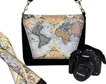 SET Dslr Camera Bag Purse and Dslr Camera Strap, Vintage Old World Map Camera Case Slr & Camera Neck Strap, Antique Map, Steampunk blue MTO