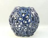 Handmade Ceramic Luminaire candle holder in cobalt blue, sculptured art object, ceramic vessel or vase or candleholder