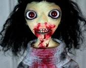 Blood Zombie Doll - Black Hair Red Eyes Creepy Doll Gracie