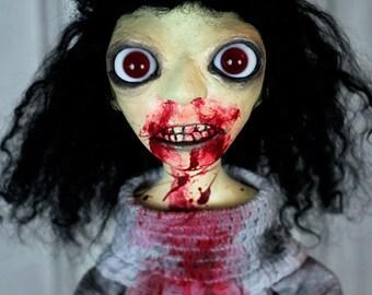 Blood Zombie Doll - Black Hair Red Eyes Creepy Doll Gracie