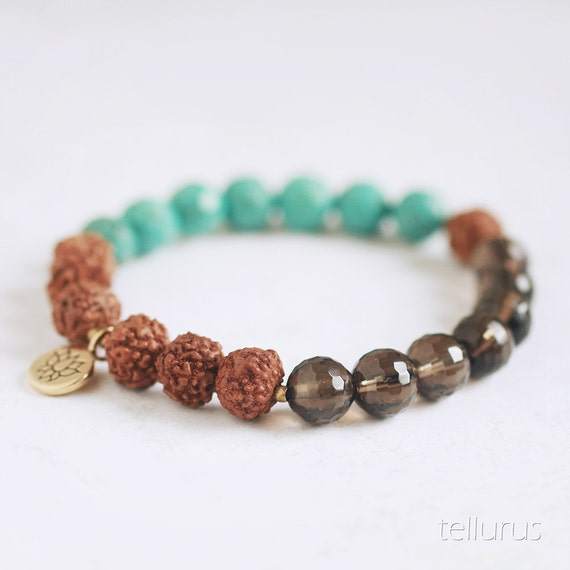 Rudraksha seed bracelet with Faceted Turquoise, Smoky Quartz, Lotus Blossom Charm
