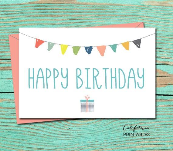 Happy Birthday PRINTABLE CARD Happy Birthday Card DIY