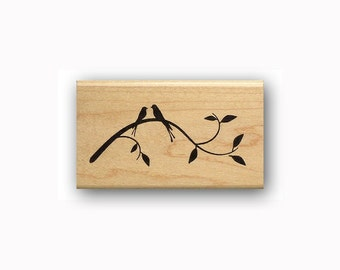 Love Birds on Branch Silhouette mounted rubber stamp, spring, summer, mail art, Sweet Grass Stamps #23