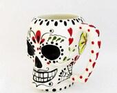 Sugar Skull Mug Day of The Dead Original Hand Painted Mexican Folk Art Design Dia de los Muertos Traditions Hand Cast Ceramics Kiln Fired
