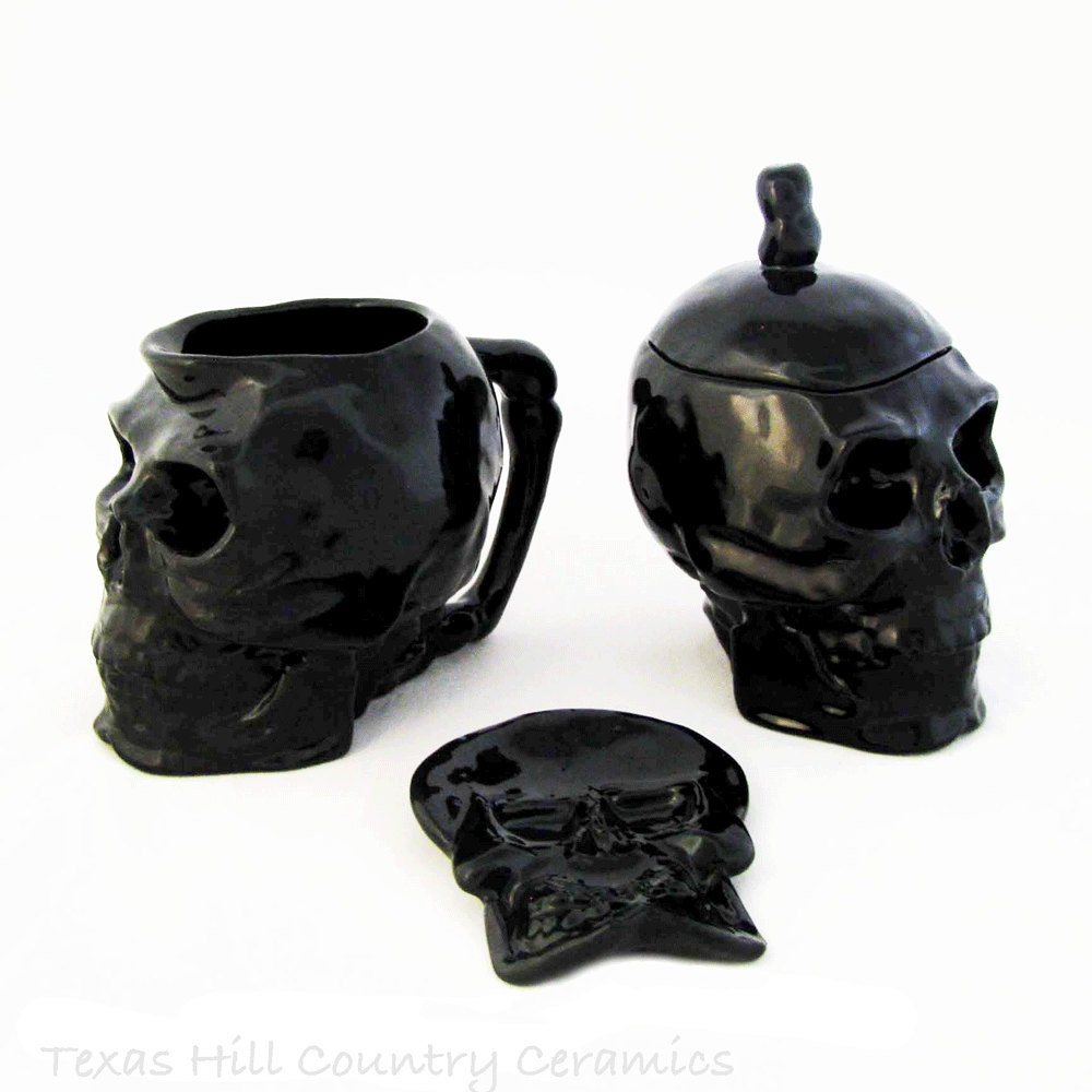 ceramic skull sugar bowl and cream pitcher set in black with