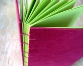 Medium Journal Magenta 8x5.5 inches - green unlined cut pages - Ready to Ship