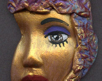 Polymer Clay Profile One of a kind textured Abstract   Face Shard GLDSH