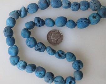 Blue Druzy Crystal Agate Freeform Nugget Beads Avg Size 10-15mm Half Strand