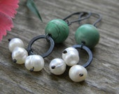turquoise and pearl dangle earrings - oxidized sterling silver