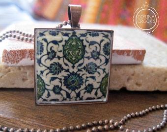 Islamic jewelry, Vintage tile design pendant necklace, Tribal necklace, folk art jewelry, copper