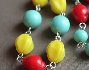 Vintage Glass Bead Necklace - Sterling Silver - Red, Yellow, Aqua