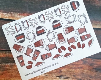Coffee Tea Cafe Stickers for Erin Condren Plum Paper Happy Planner (ID266)