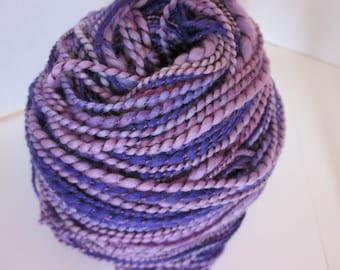 Handspun Cashmere Merino Silk ART Yarn  (Purple Pixies) 176yds 161 meters