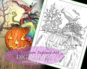 One Giant Pumpkin - Digital Stamp - Printable - Halloween Witch and Cat - Fantasy Art - Digi stamp Coloring Page JPG - 8.5 x 11