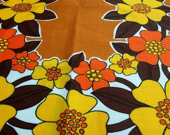 Vintage Kitsch Tea Towel - Brown with Yellow and Orange Flowers 70s Psychedelic Tea Towel