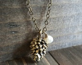 Pinecone and Freshwater Pearl Brass Necklace, Pine cone Necklace