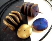 20 INTENSE Peacock Blue, Brushed Gold, Czech Wavy Beads, 12mm, ORGANIC Spacer Beads, Ripple Beads, Czech Glass B77