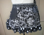Black and White Aprons - Black Floral Aprons - White Aprons - Annies Attic Aprons - Womens Aprons - Cocktail Aprons - Polkadotted Aprons