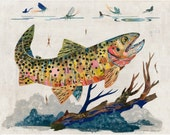 Cutthroat Trout Paper Collage Art