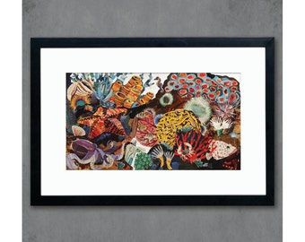 Coral Reef Seascape Collage Print