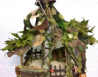 OOAK Custom fairy house by Forest Whimsy gnome home forest fairy dollhouse nantural woodland fairy house