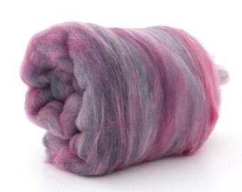 Carded Batt Merino Wool Hand Dyed - Very Berry 100g XL cb103