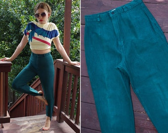FOREST Green 1980's Vintage High Waist Deep Green Skinny Stirrup Pants // by Jennifer Moore // size 8 // Small