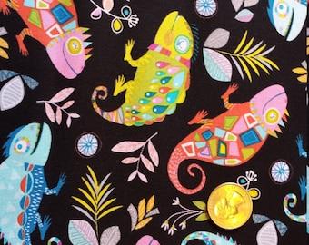 Timeless Treasures Cotton Fabric Colorful Iguana Chameleon Lizards 1 Yard
