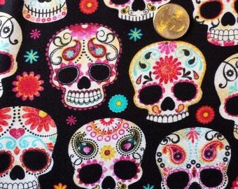 Timeless Treasures Cotton Fabric Colorful Sugar Skulls 1 Yard