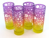 Bubbling Arrow Highball Glasses - Tequila Sunrise Purple Orange and Yellow - Etched and Painted Glassware - Ready to Ship