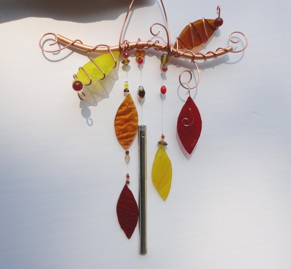SALE, Falling Leaves, Fall Decor, Glass and Copper Autumn Wind Chime, Garden Art, Wall Hanging,Window Hanging, Porch Hanging, Nature, Tree